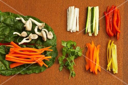 Raw vegetables for veggie wraps