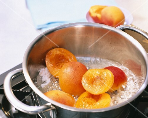 Apricots being caramelized
