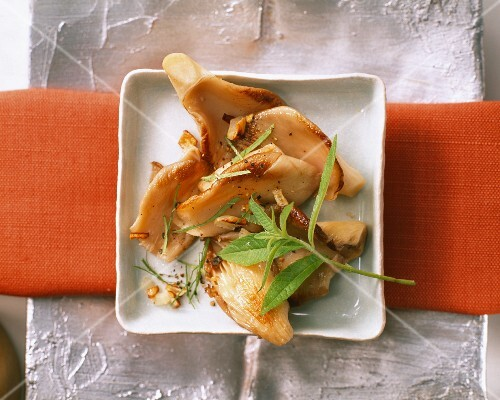 Fried oyster mushrooms with lemon balm
