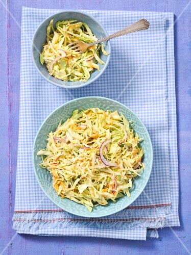 Coleslaw with cheese and red onions
