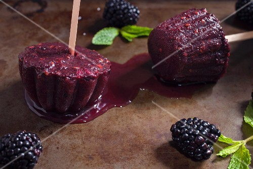 Homemade organic blackberry ice lollies