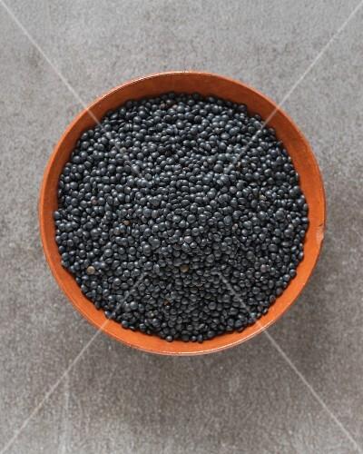 Schwarze Bio-Belugalinsen in Tonschale (Draufsicht)