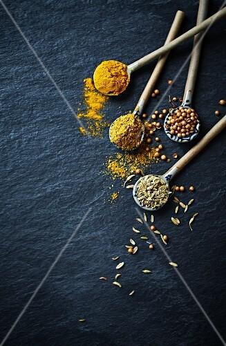 Currypulver, Kurkuma, Kreuzkümmel und Koriandersamen auf Keramiklöffeln