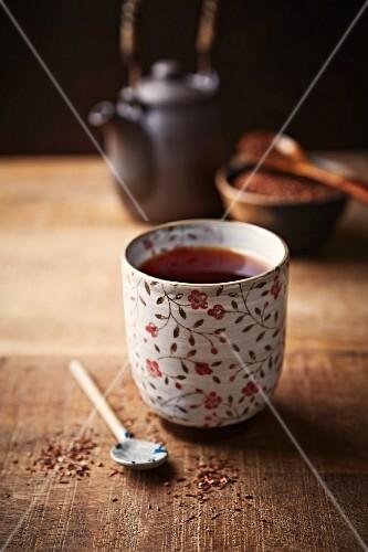 Rooibos tea in a ceramic mug
