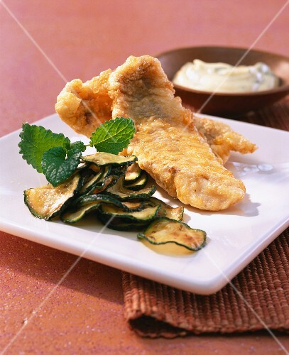 Perch fillet in an egg coating