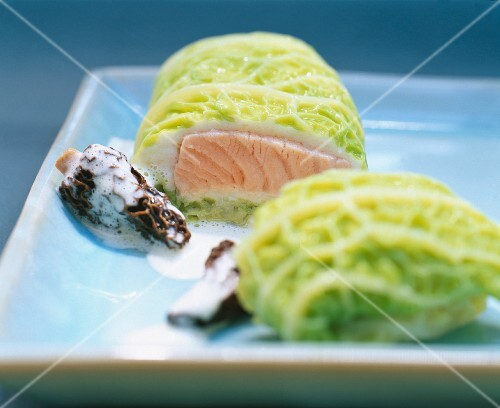 Salmon trout wrapped in savoy cabbage