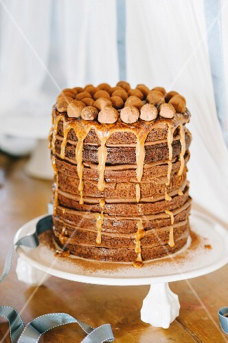 Mississippi mud cake with caramel sauce and chocolate truffles
