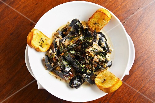 Mussels in a creamy white wine sauce with grilled bread