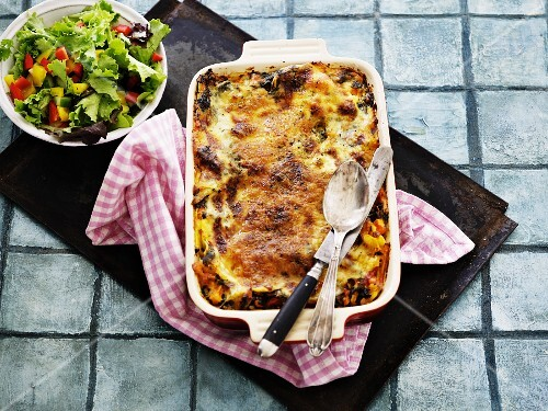Lasagne with a side salad