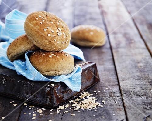 Burger buns on a towel
