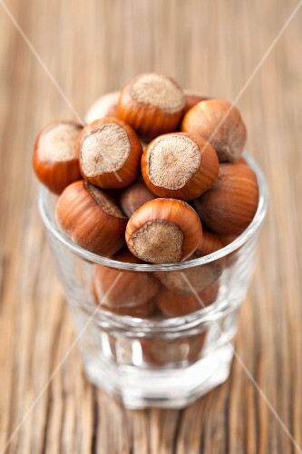 A glass of hazelnuts