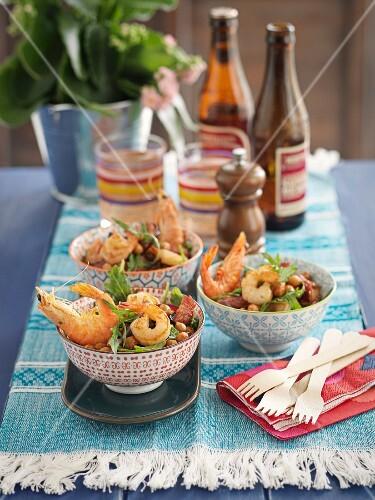 Prawn and chorizo salad with chickpeas