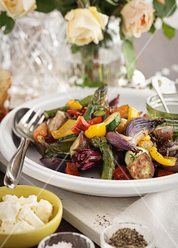 Rustic oven-roasted vegetable salad