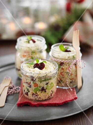 Salad with mini pasta and vegetables in glasses
