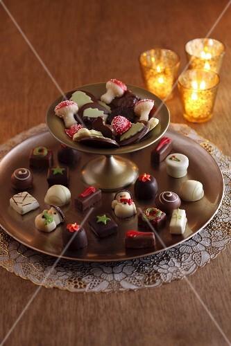 Christmas chocolate pralines