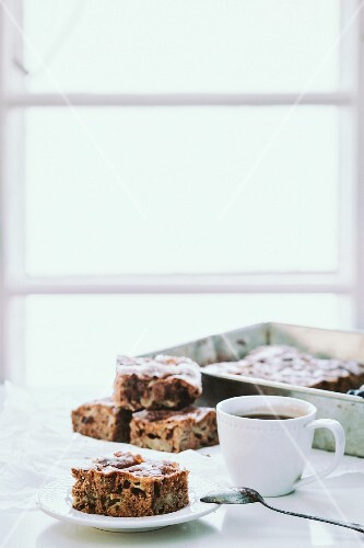 Apple and walnut cake and a cup of coffee
