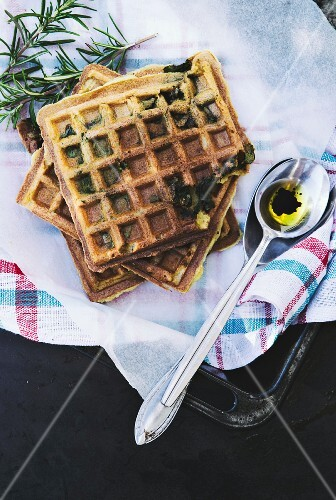 Savoury waffles with spinach (seen above)