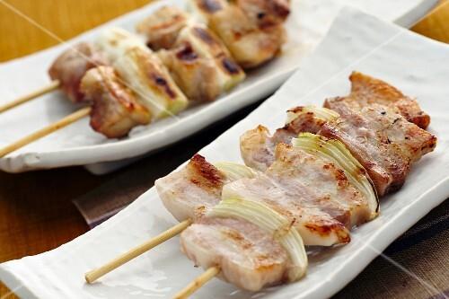 Yakitori skewers (chicken kebabs, Japan)