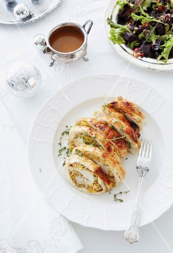 Turkey breast stuffed with apricots and cashew nuts