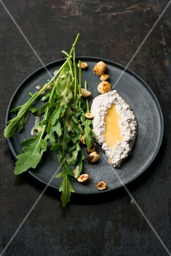 Cream cheese and hazelnut dip with rocket