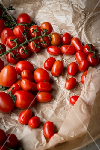 Tomatoes on parchment paper