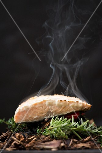 Wild salmon being smoked