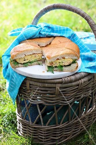 Frittata sandwiches for a picnic