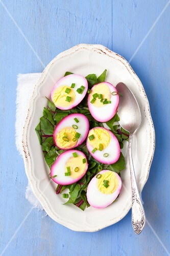 Hard-boiled eggs marinated in beetroot juice