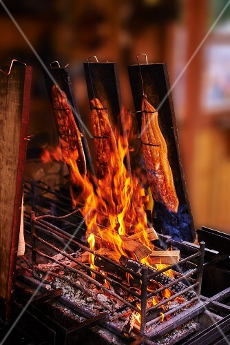 Salmon being grilled on wooden planks