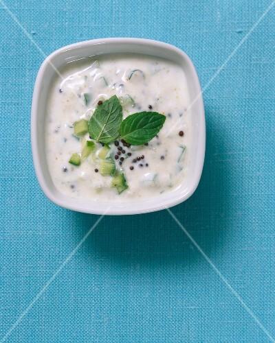 A yoghurt dip with mint and cumin