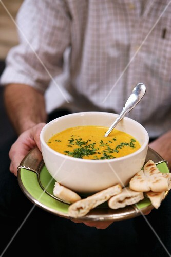Carrots soup with unleavened bread (Morocco)