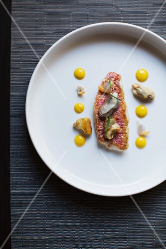 Red mullet with rouille and mussels
