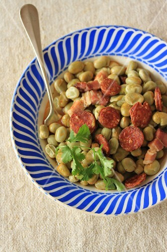 Fava bean stew with chorizo and coriander
