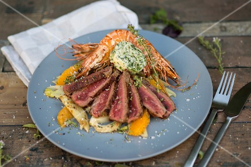 Surf & Turf with prawns and beef