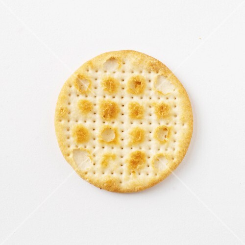 A cheese cracker (seen from above)