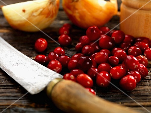 Cranberries, onions and an old knife