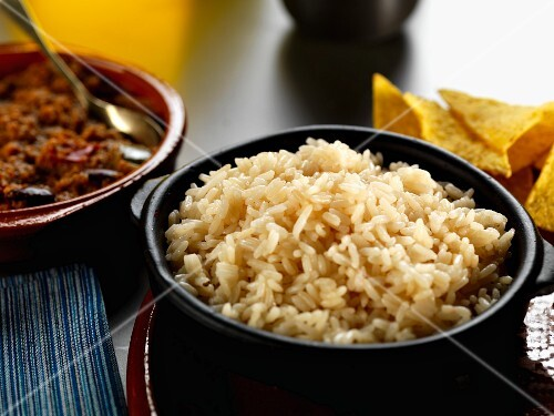 A bowl of boiled long grain rice
