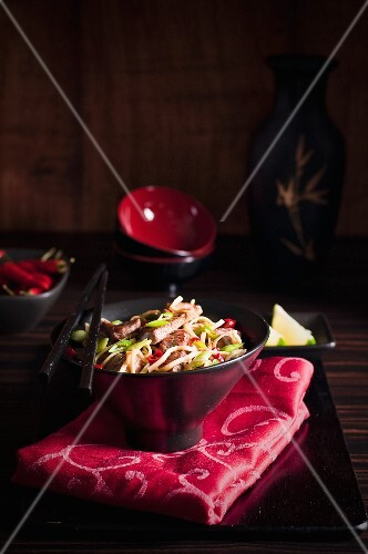 Beef stir-fry with noodles and vegetables