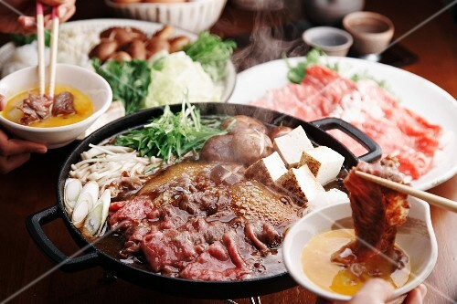 Sukiyaki with beef, tofu, vegetables and mushrooms (Japan)