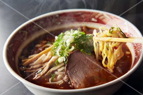 Ramen noodles with beef and vegetables (Japan)