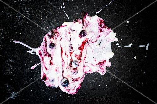 Frozen yoghurt ice cream with blueberries and white chocolate on the floor