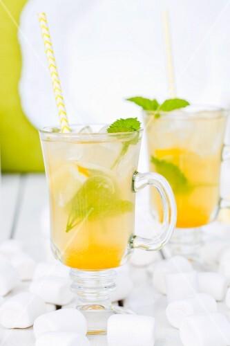 Iced tea with lemon balm