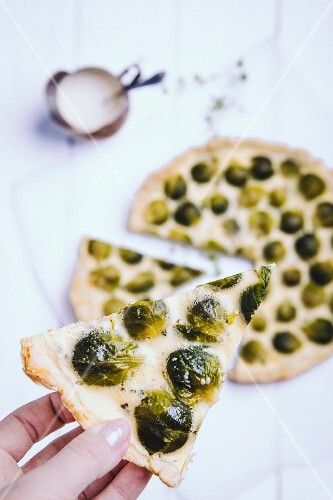 Spicy Brussels sprouts tart, sliced