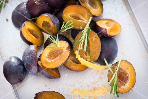 Damsons with rosemary, lemon zest and brown sugar