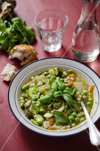 Minestrone primavera (spring vegetable soup, Italy)
