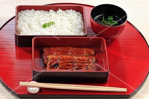 Kabayaki (Japanese fish dish) with eel, rice and soup