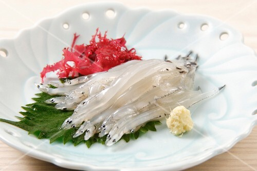 Salangidae sashimi on a shiso leaf (Japan)