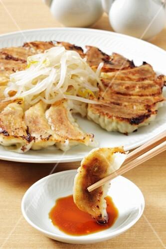 Jiaozi with soy sauce (Japan)