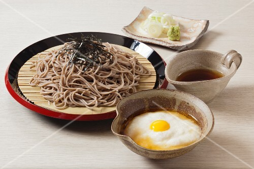 Tororo soba with grated yam and egg (Japan)