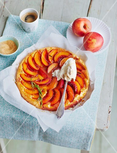 Tarte tartin with nectarines and Rosemary